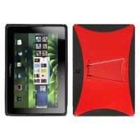 MYBAT Gummy Cover With Stand Compatible with RIM BLACKBERRY Playbook , Solid Red/Solid Black