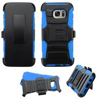 ASMYNA Dual Layer Hybrid PC/Silicone Holster Case Cover Compatible With Samsung Galaxy S7 Edge, Black/Blue