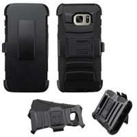 ASMYNA Dual Layer Hybrid PC/Silicone Holster Case Cover Compatible With Samsung Galaxy S7 Edge, Black