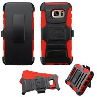 ASMYNA Dual Layer Hybrid PC/Silicone Holster Case Cover Compatible With Samsung Galaxy S7 Edge, Black/Red