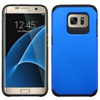 ASMYNA Dual Layer Hybrid Rubberized Hard PC/Silicone Case Cover Compatible With Samsung Galaxy S7 Edge, Blue/Black