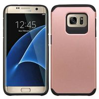 ASMYNA Dual Layer Hybrid Rubberized Hard PC/Silicone Case Cover Compatible With Samsung Galaxy S7 Edge, Rose Gold/Black