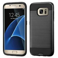 ASMYNA Dual Layer Hybrid Rubberized Hard PC/Silicone Case Cover Compatible With Samsung Galaxy S7 Edge, Black