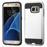 ASMYNA Dual Layer Hybrid Rubberized Hard PC/Silicone Case Cover Compatible With Samsung Galaxy S7 Edge, Silver/Black