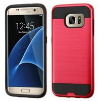 ASMYNA Dual Layer Hybrid Rubberized Hard PC/Silicone Case Cover Compatible With Samsung Galaxy S7 Edge, Hot Pink/Black