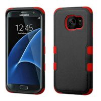 MyBat Tuff Dual Layer Hybrid Rubberized Hard PC/Silicone Case Cover Compatible With Samsung Galaxy S7 Edge, Black/Red