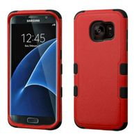 MyBat Tuff Dual Layer Hybrid Rubberized Hard PC/Silicone Case Cover Compatible With Samsung Galaxy S7 Edge, Red/Black