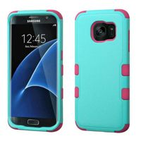 MyBat Tuff Dual Layer Hybrid Rubberized Hard PC/Silicone Case Cover Compatible With Samsung Galaxy S7 Edge, Teal/Pink