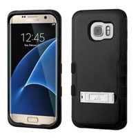 MyBat Dual Layer Hybrid Stand Rubberized Hard PC/Silicone Case Cover Compatible With Samsung Galaxy S7 Edge, Black
