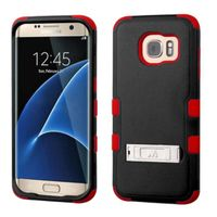 MyBat Dual Layer Hybrid Stand Rubberized Hard PC/Silicone Case Cover Compatible With Samsung Galaxy S7 Edge, Black/Red