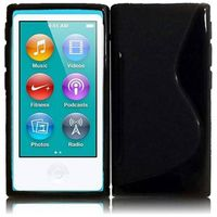 S Shape TPU Cover Case compatible with Apple iPod Nano 7, Black