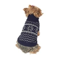 Anima Snowflake Knit Pet Sweater, Extra Small Blue