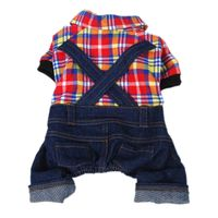 Anima Red Yellow and Blue Plaid Top with Denim Overalls Dog and Pet Outfit (One-Piece), Large