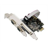 Syba PCIe 2x Serial DB9 Port, 1x Parallel Port Combo Card, Moschip 9901