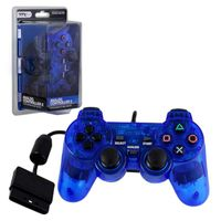 TTX Tech Wired 12 Key Sony PlayStation 2 Dual Shock 2 Analog Controller Clear Blue