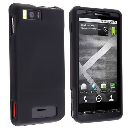 Snap-in Rubber Coated Case  compatible with Motorola Droid X2 Daytona, Black