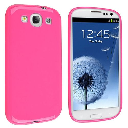TPU Rubber Skin Case Compatible with Samsung© Galaxy S III / S3, Hot Pink Jelly