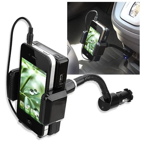 All-in-One FM Transmitter w/ 3.5-mm Audio Cable and Mic  compatible with Apple® iPhone® 4S, Black