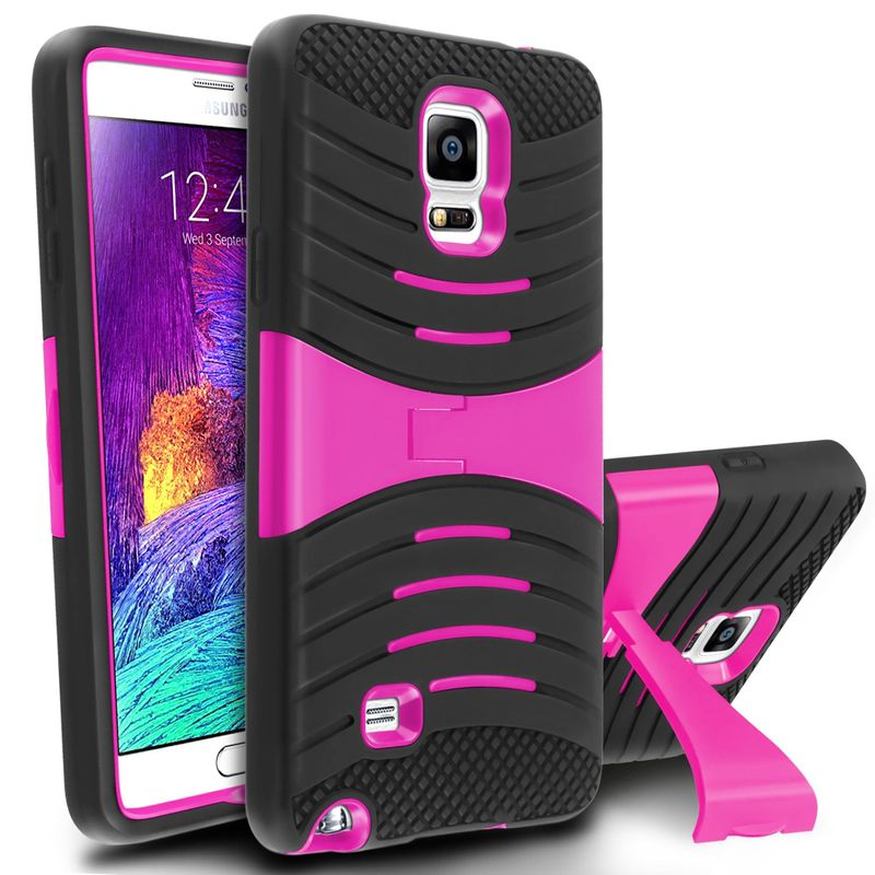 For Samsung Galaxy Note 4 Rubber Rugged Tough Stand Hybrid Hard Cover Case Skin