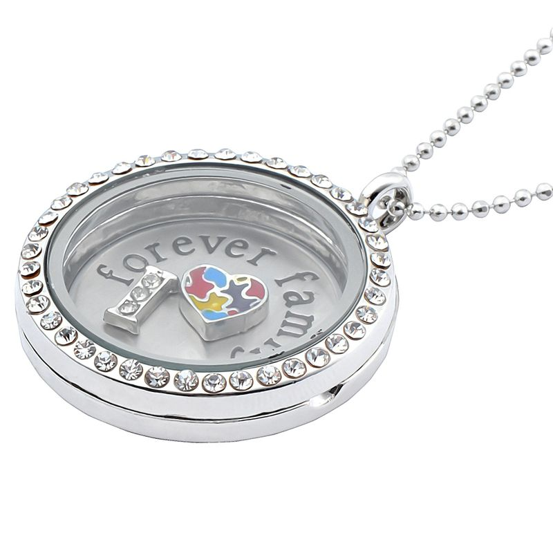 NEW-Living-Memory-Floating-Glass-Love-Locket-Charms-Necklace-Pendant-Chain-Gift