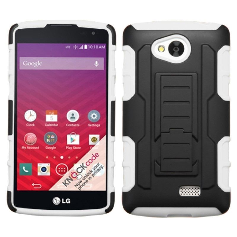 Hybrid Hard Soft Car Armor Shock Proof Stand Cover Case Skin For LG Optimus F60