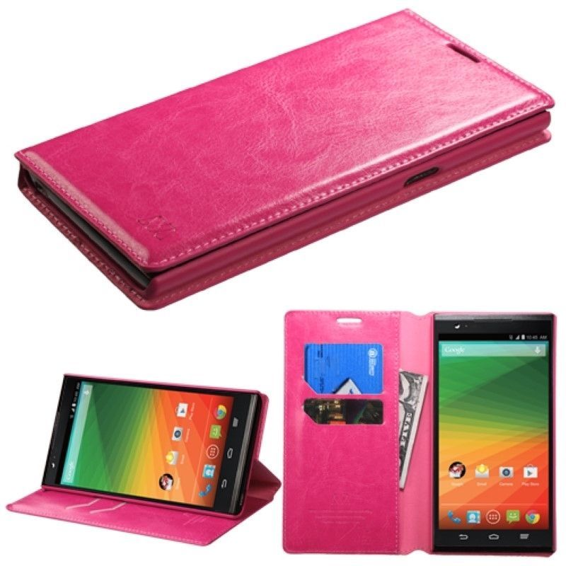 For ZTE ZMAX Z970 Phone Leather Flip Wallet Case Cover Folio Pouch Stand