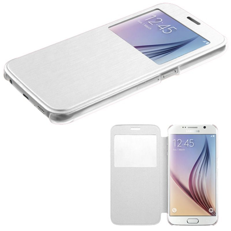 For-Samsung-Galaxy-S6-Silk-Texture-Clear-Window-MyJacket-Leather-Flip-Cover-Case