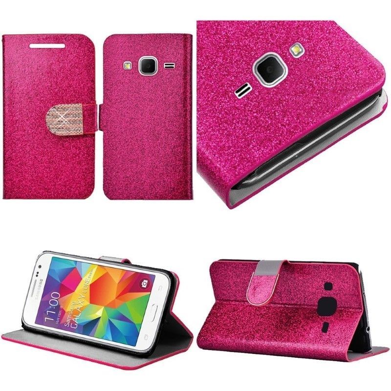 For Samsung Galaxy Core Prime Shiny Leather Bling Wallet Credit Card Cover Case