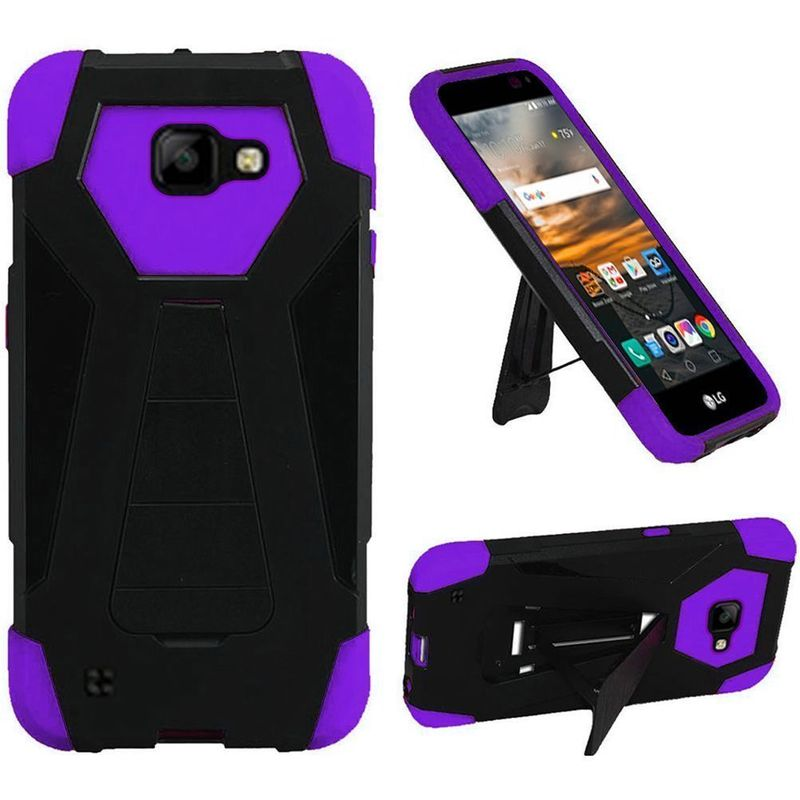 For-LG-K3-Hybrid-Dual-Layer-T-Kickstand-Hard-Silicone-Back-Shockproof-Case
