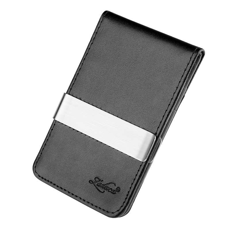 Mens-Genuine-Leather-Silver-Money-Clip-Slim-Wallets-Black-ID-Credit-Card-Holder