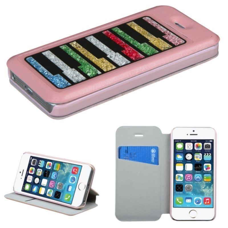For-iPhone-SE-5-5S-Rainbow-Beads-Pink-Diamond-Card-Wallet-Leather-Pouch-Case