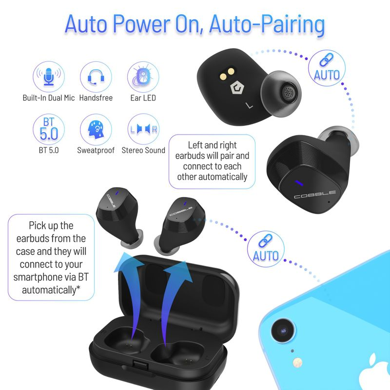 Cobble-Pro-True-Wireless-Bluetooth-5-0-Stereo-Headphone-Earbud-Portable-Charging thumbnail 6