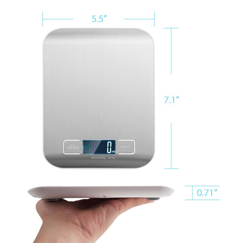 Luxury-Stainless-Steel-LED-Digital-Scale-For-Food-Kitchen-Postal-11lb-5000g-x1g thumbnail 15