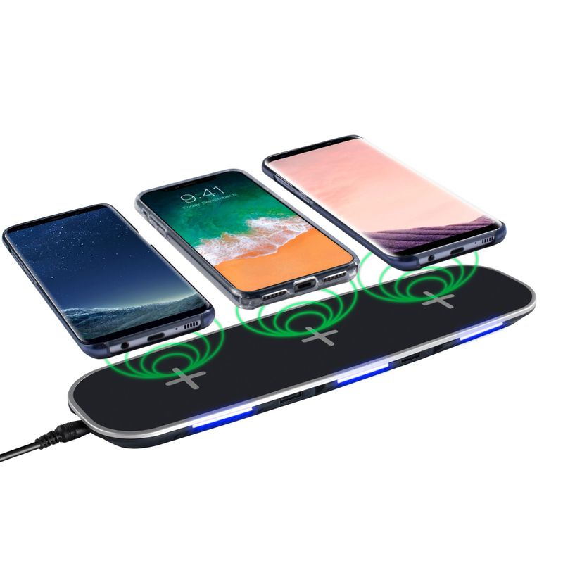 INSTEN Qi Wireless Charging Charger Pad 3 Slot+2 USB For iPhone X/XS/XR/8/8 Plus Black