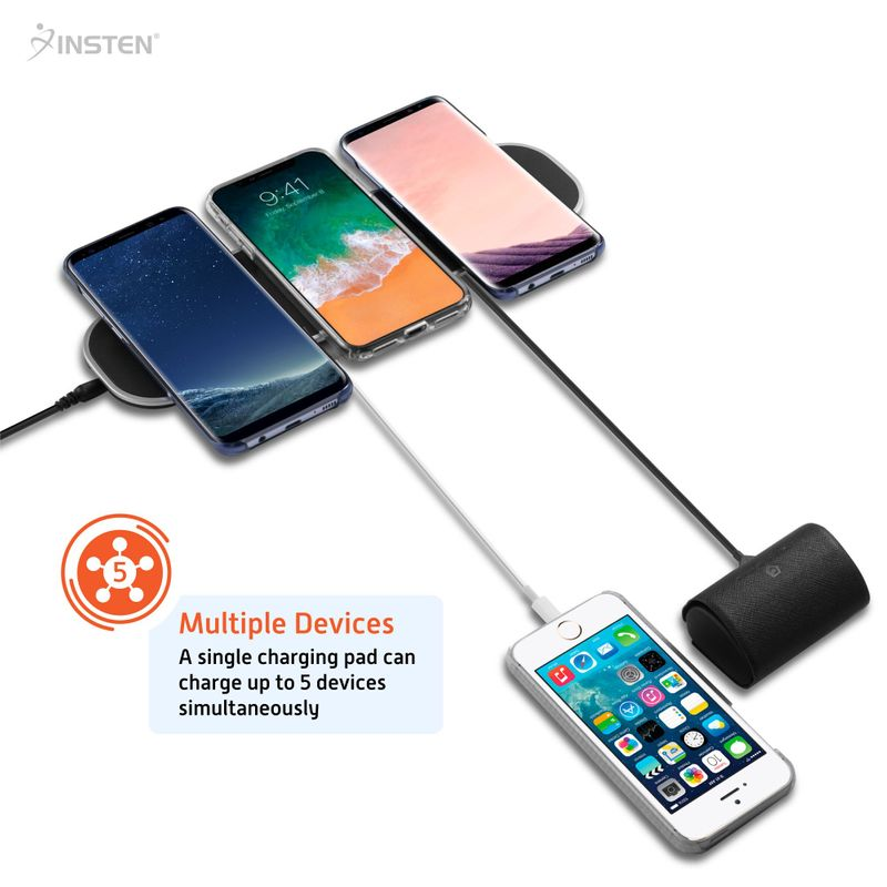 INSTEN Qi Wireless Charging Charger Pad 3 Slot+2 USB For iPhone X/XS/XR/8/8 Plus