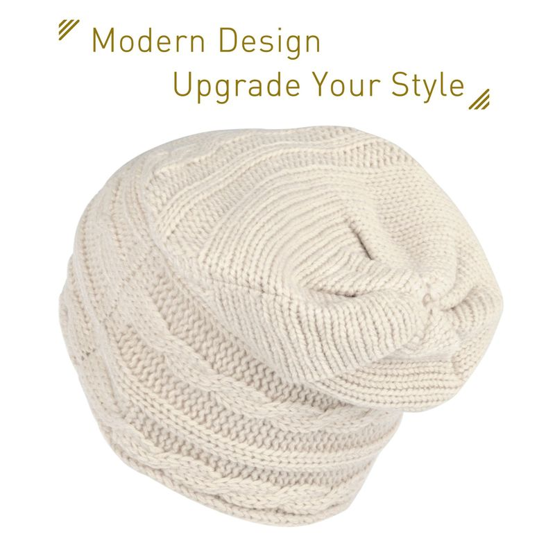 Women Fashion Lightweight Slouchy Patterned Beanie Stretchy Warm ...