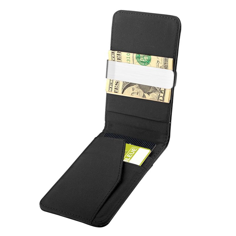 Mens-Genuine-Leather-Silver-Money-Clip-Slim-Wallets-Black-ID-Credit-Card-Holder thumbnail 7
