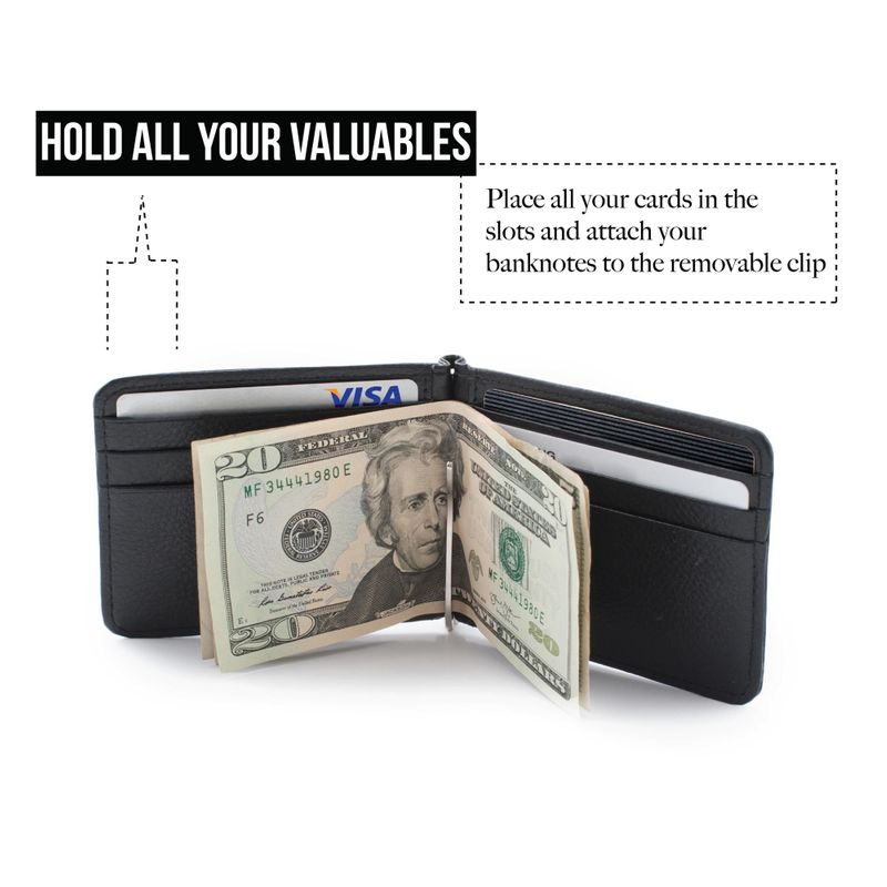 Men-Slim-Leather-Bifold-ID-Credit-Card-Wallet-with-Removable-Money-Clip thumbnail 4