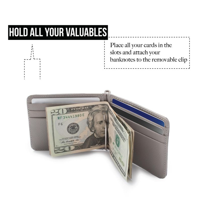 Men-Slim-Leather-Bifold-ID-Credit-Card-Wallet-with-Removable-Money-Clip thumbnail 22