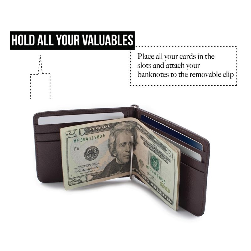 Men-Slim-Leather-Bifold-ID-Credit-Card-Wallet-with-Removable-Money-Clip thumbnail 16