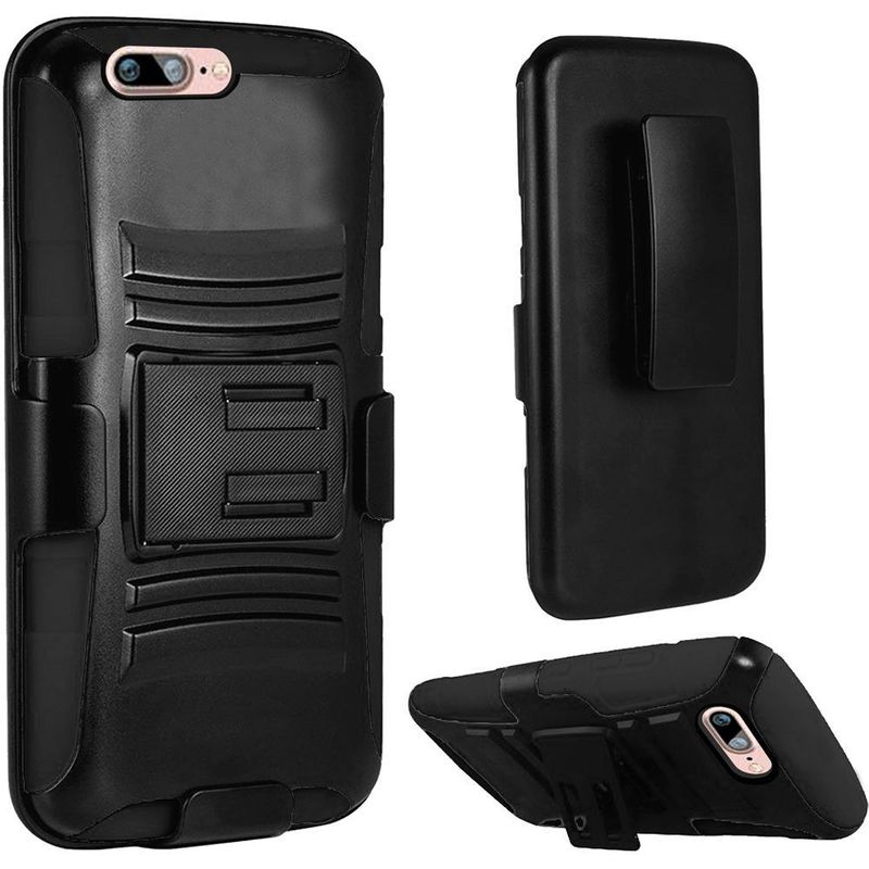 For-Apple-iPhone-7-Hybrid-Hard-Silicone-Side-Kickstand-Case-Holster-Clip thumbnail 2