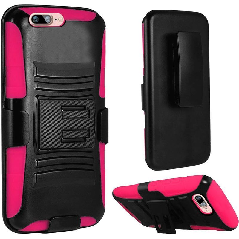 For-Apple-iPhone-7-Hybrid-Hard-Silicone-Side-Kickstand-Case-Holster-Clip thumbnail 5