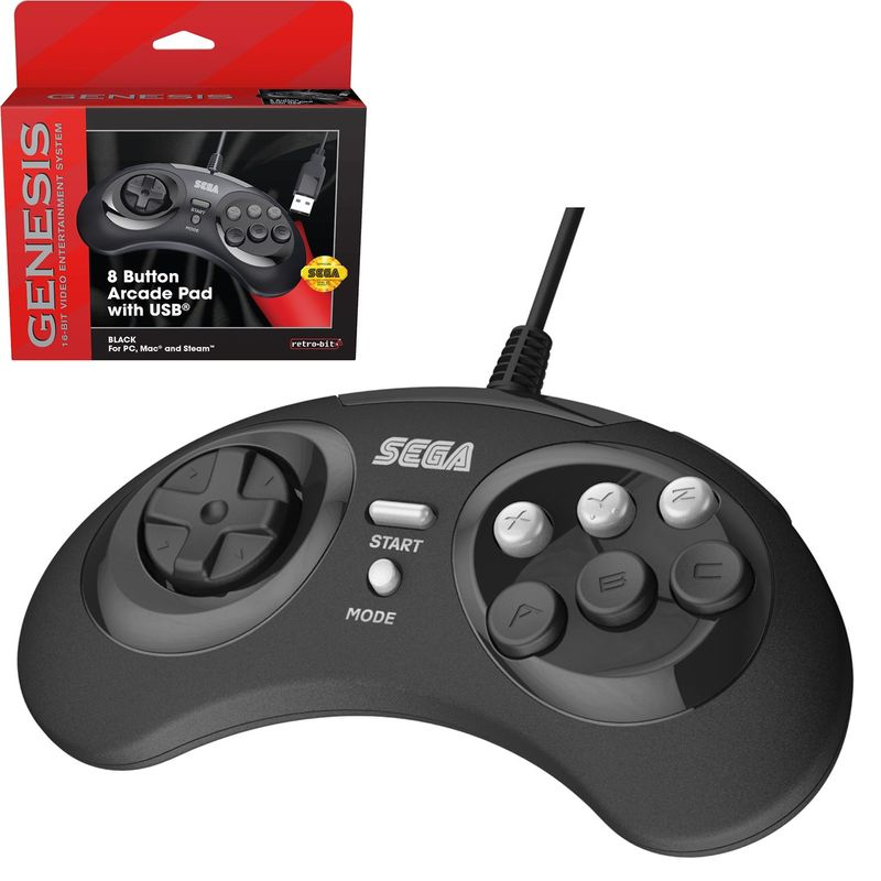 Retro-Bit-SEGA-Genesis-8-Button-Arcade-Pad-USB-Controller-Gamepad-for-PC-Mac thumbnail 6