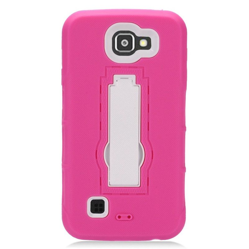 Dual Layer Stand Rubber PC Case for LG Optimus Zone 3 Spree Hot Pink White
