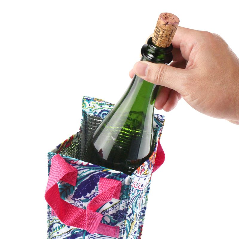 Thermal-Insulated-Lightweight-Wine-Bottle-Tote-Carry-Bag-for-Party miniatuur 7