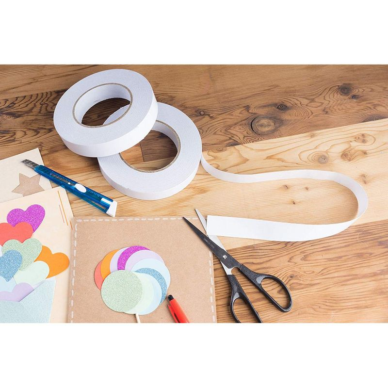 2 Rolls Double Sided Tapes Self-Adhesive Tape for DIY Craft