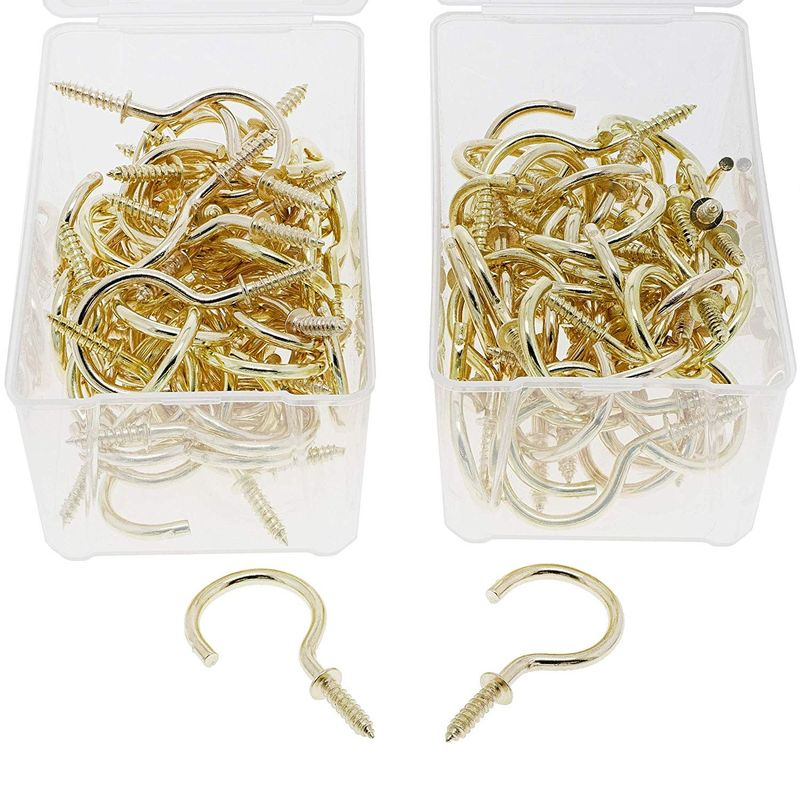 Genie Crafts 100 Pack 45mm Gold Metal Screw in Hooks for Wal