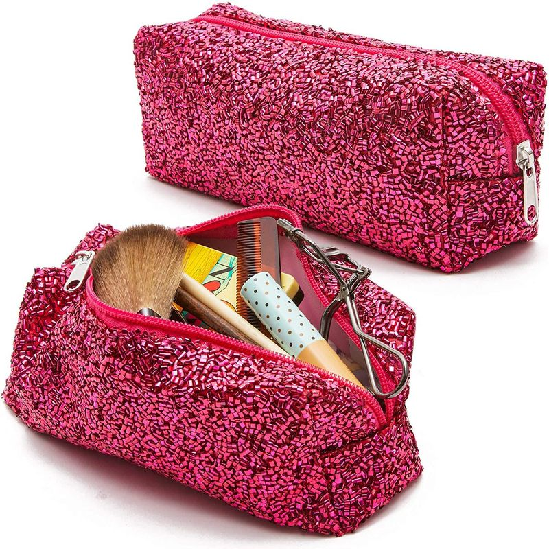 2 pack fabric glitter travel makeup bag